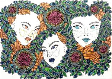 """""""Wisdom in Three"""" Pen and ink on A4 paper. A tribute to the Three Fates, the Three Witches and the Three Sisters who always appear in stories and myths as wise ladies to guide the heroes and sometimes temptresses to challenge the heroes."""